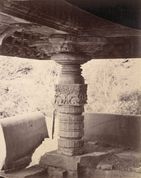 Close view of column in porch showing sculptural detail, Rangaswami Temple, Bankapur